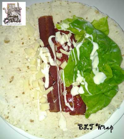 Turkey Bacon, Lettuce, and Tomato, Wrap with Cheese