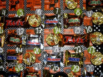 Halloween Candy Calendar on Cookie Sheet