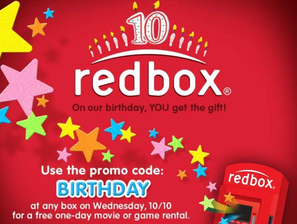 FREE Redbox Movie Rental – Today 10/10 only!