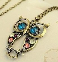 Vintage style colorful Owl charm necklace only $1 shipped! (reg $9.99)