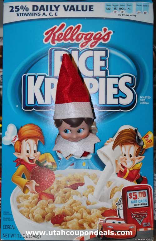 elf on the shelf ideas rice krispies box