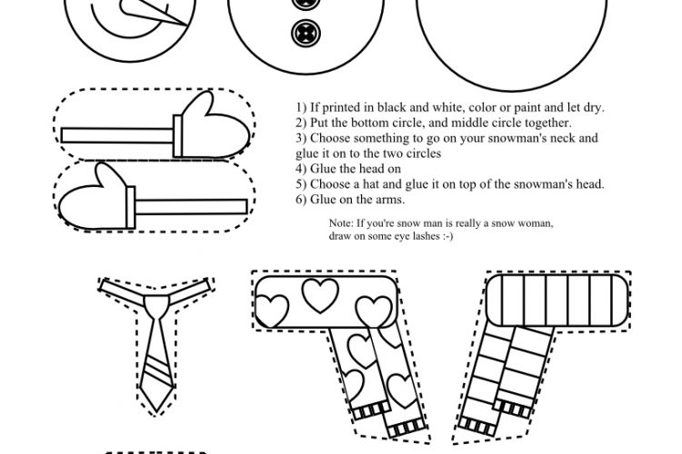 Printable Snowman Coloring Page Craft