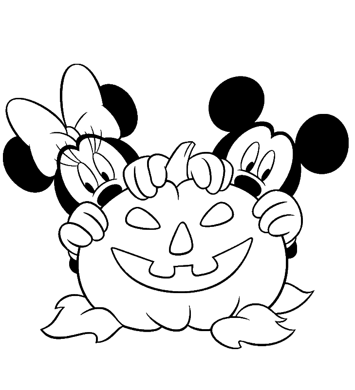 Free disney halloween coloring pages lovebugs and postcards for Minnie mouse halloween coloring pages