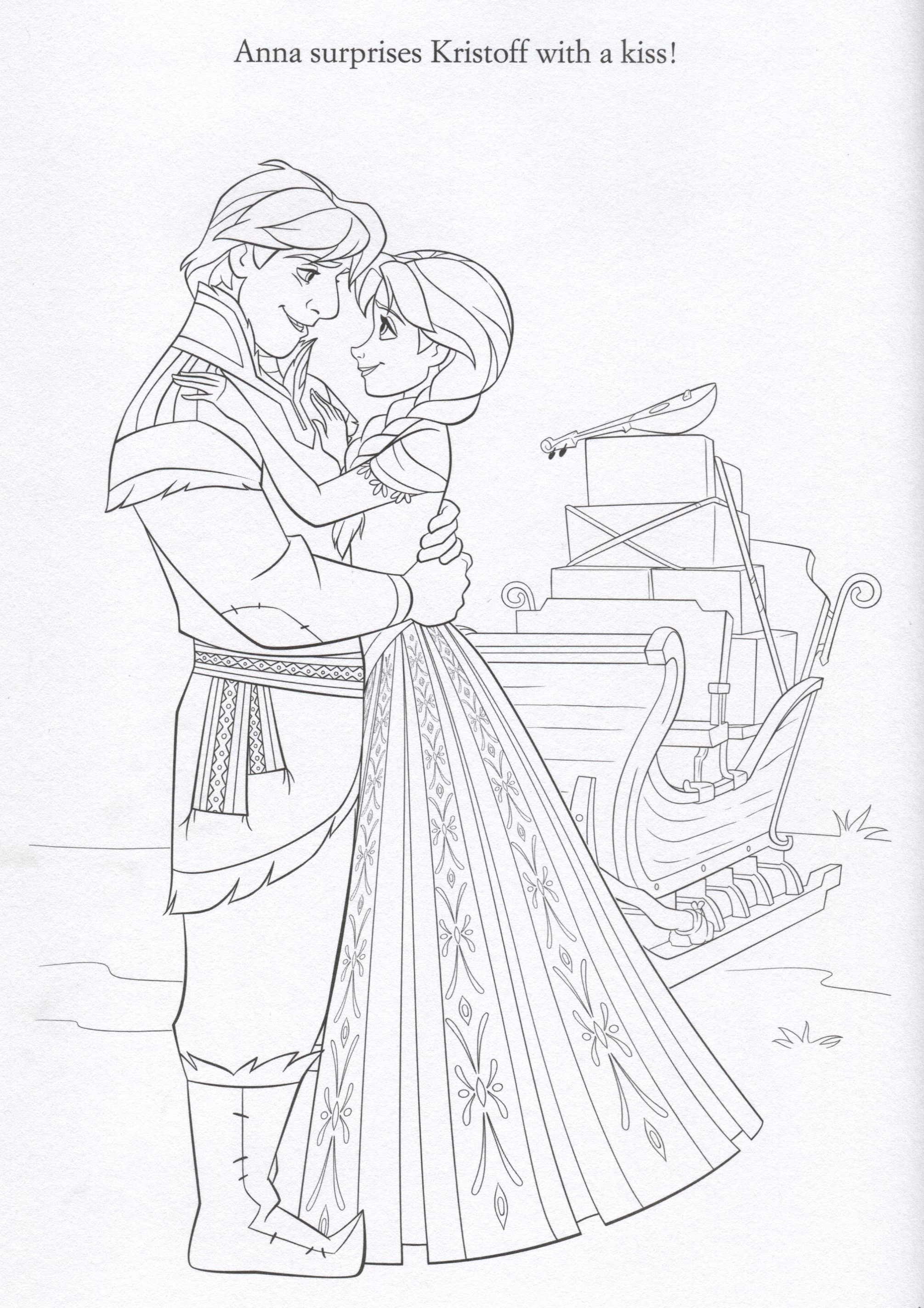Frozen Coloring Pages Anna And Kristoff Family : Frozen anna kristoff coloring page lovebugs and postcards