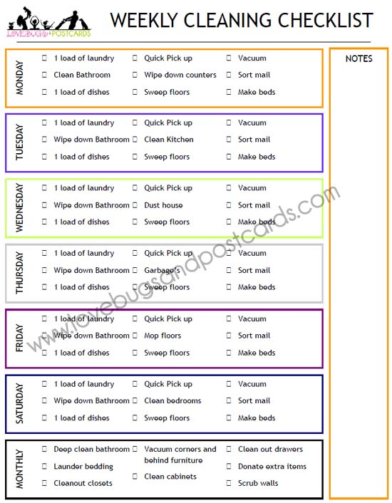 Weekly Cleaning Checklist Printable - Lovebugs and Postcards