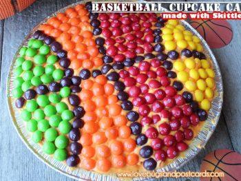 Basketball Cupcake Cake (made with Skittles)