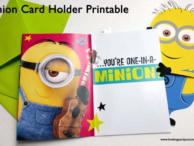 photo relating to You Re One in a Minion Printable identified as Minion Card Holder Printable - Lovebugs and Postcards