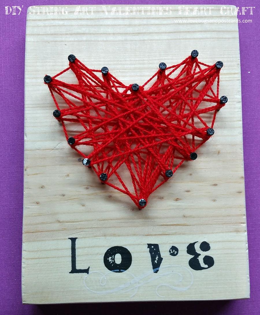 DIY String Art Valentines Heart Craft