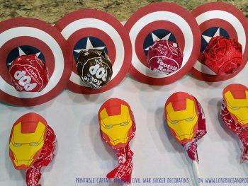 Captain America: Civil War Sucker Decorations on www.lovebugsandpostcards.com