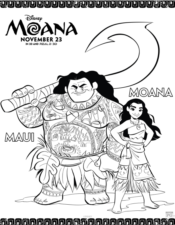 disney s moana coloring pages moana   lovebugs and postcards