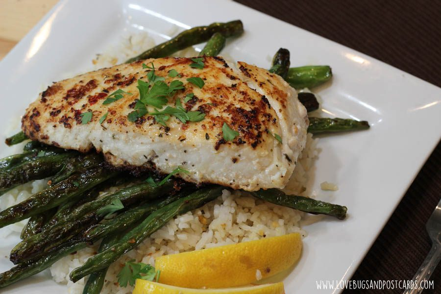 Easy Family Meal Ideas - Pan Seared Halibut Recipe with Sautéed Green Beans
