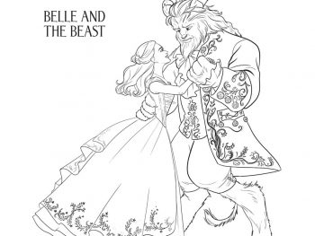 Belle and the Beast Coloring Page