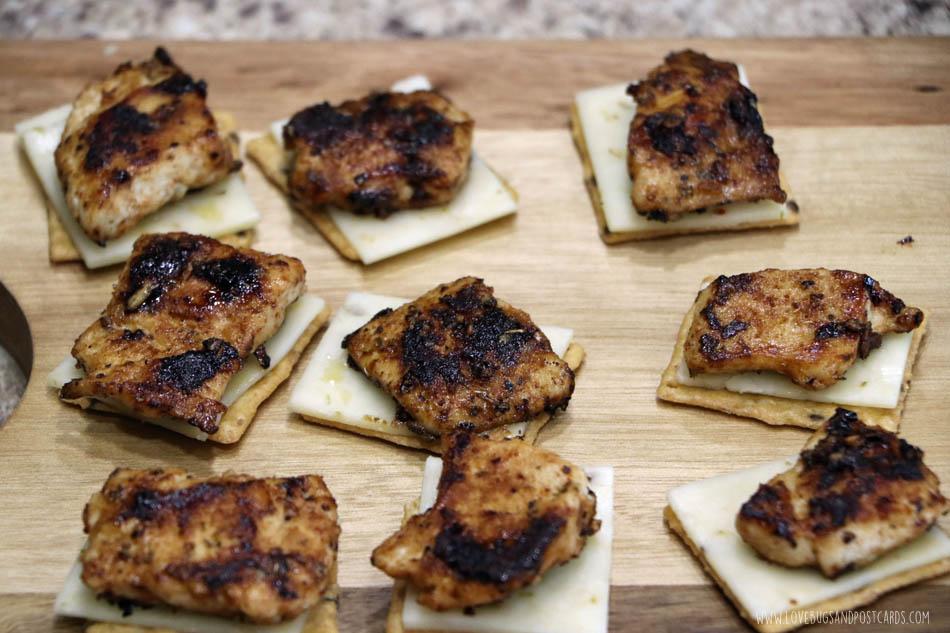 Mini chicken fajita's served on crackers