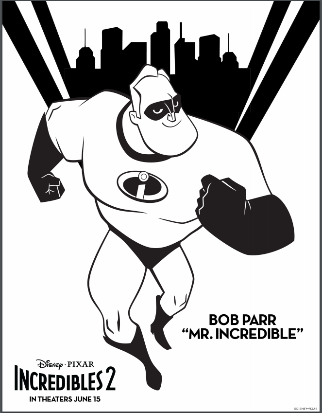 Disney Pixar S Incredibles 2 Coloring Pages Lovebugs And Postcards