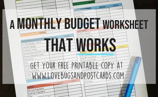 A monthly budget worksheet that works