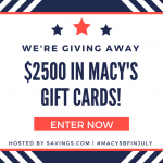 Macy's Black Friday in July Sale plus $2500 giveaway!!!