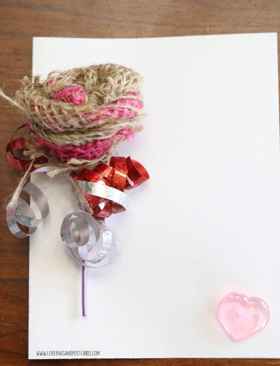 DIY Burlap Rose Valentine's Card - Valentine's Crafts for Kids