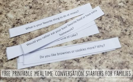 Free printable mealtime conversation starters for families