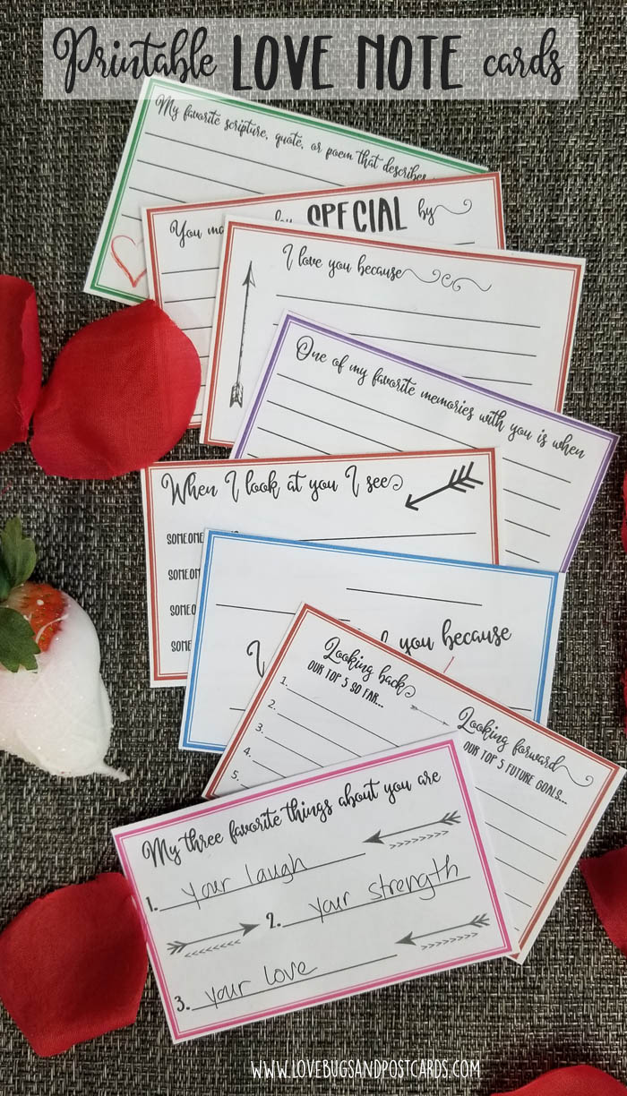Printable LOVE NOTE Cards