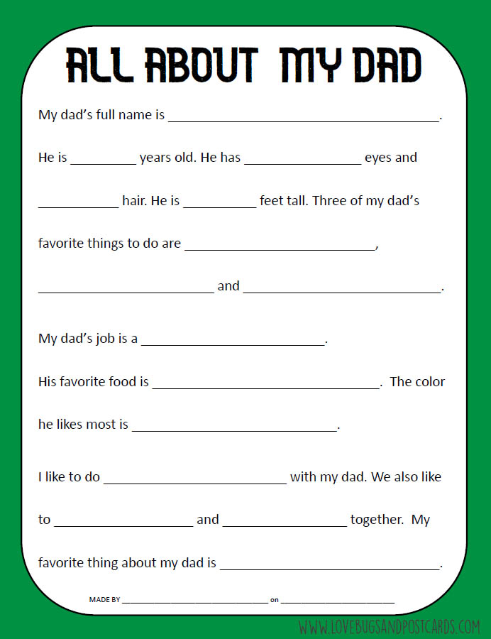 All About DAD printable