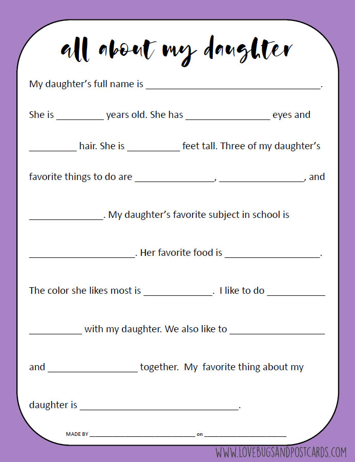 All About My Daughter Printable