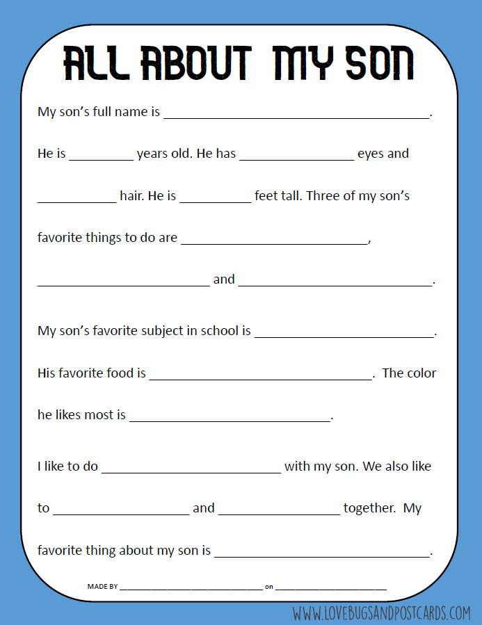 All About My Son Printable