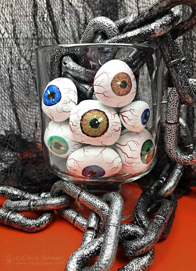Halloween painted rock eyeballs - Halloween Crafts