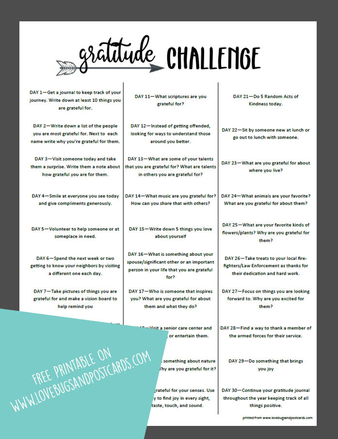 Gratitude Challenge printable - 30 day gratitude challenge with journaling prompts