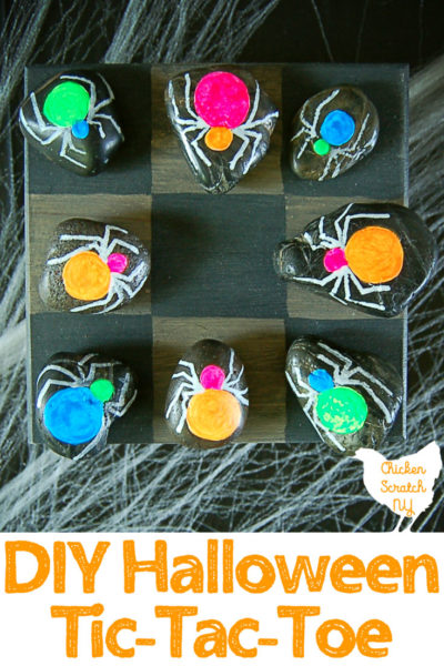 DIY Halloween Spider Tic Tac Toe Game - Halloween Crafts