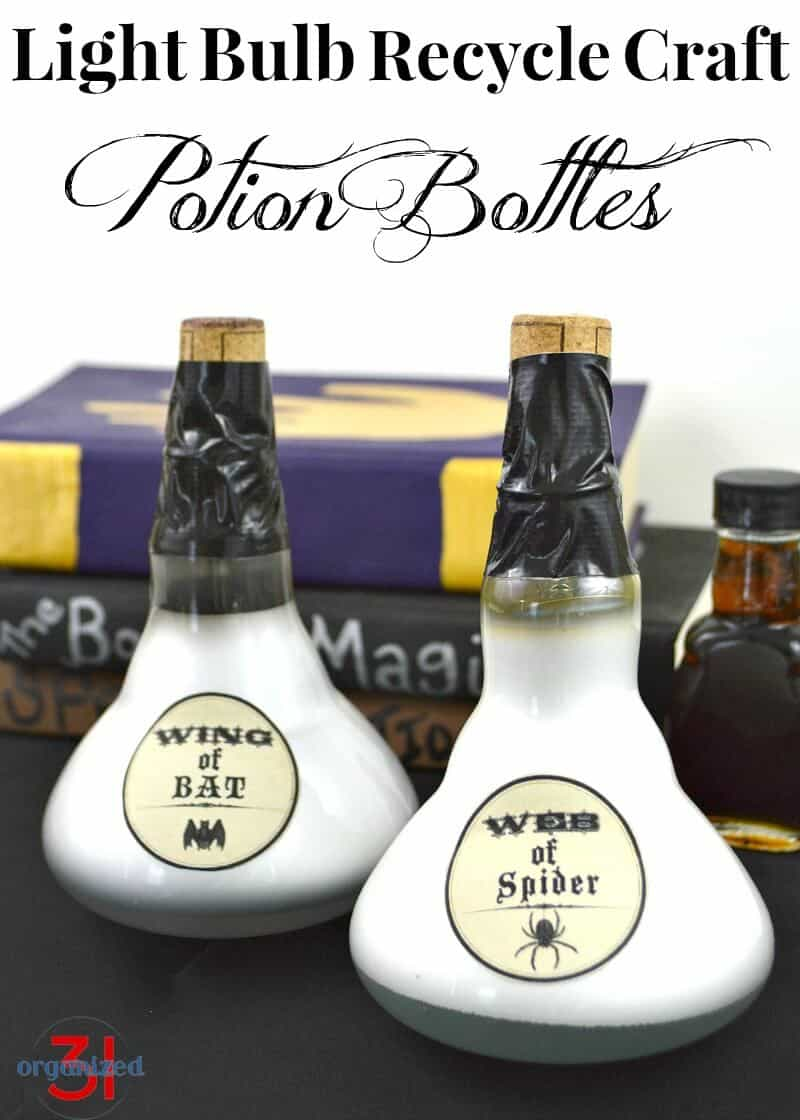 Potion Bottles – Light Bulb Upcycling - Halloween Crafts
