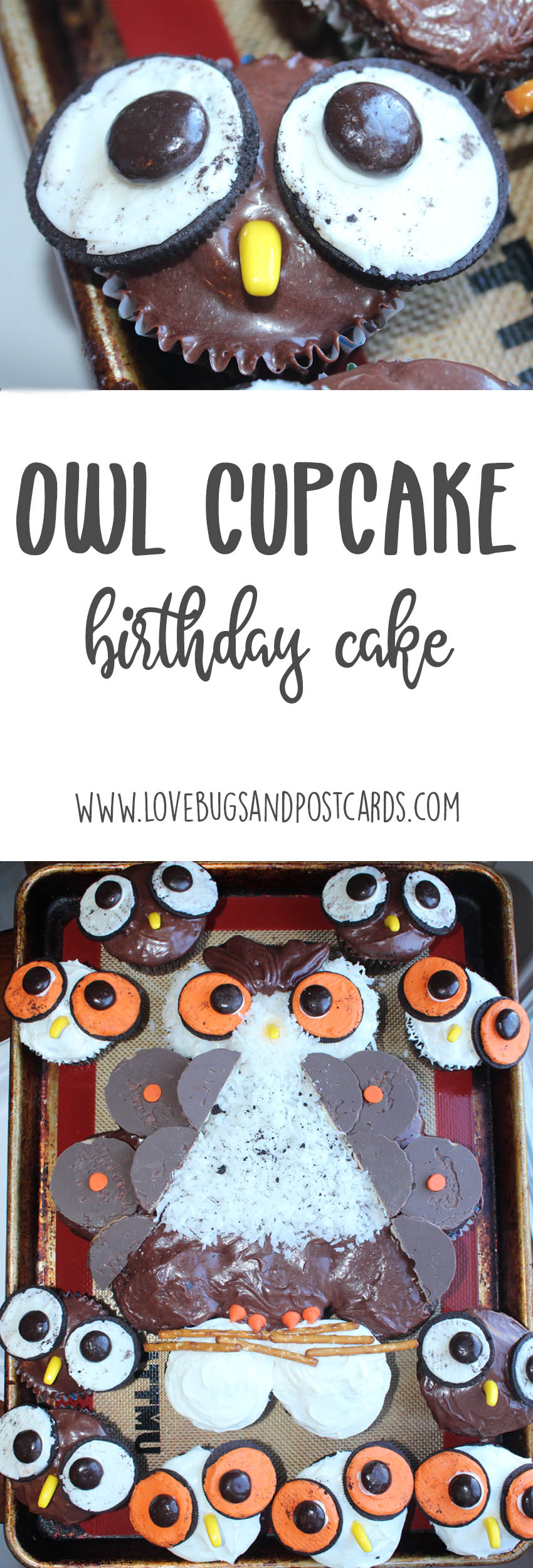 Owl Cupcake Cake and Baby Owl Cupcakes