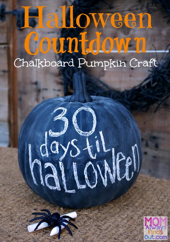Halloween Countdown Chalkboard Pumpkin - Halloween Crafts