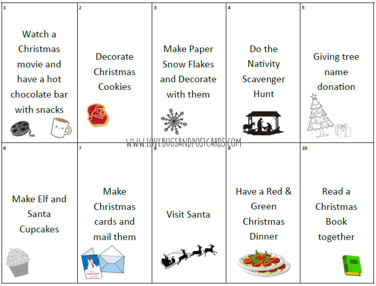 Advent Calendar Ideas printable