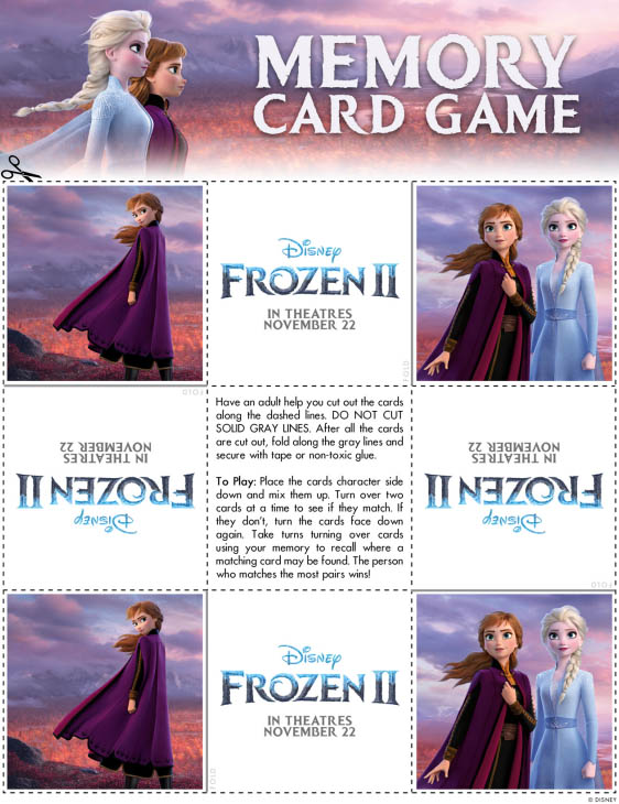 Frozen 2 Memory Card Game