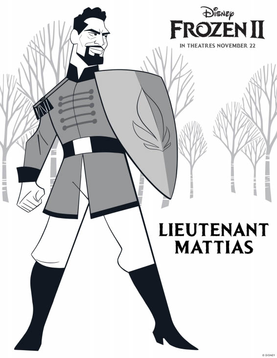 Disney's FROZEN 2 Coloring Pages - Lieutenant Mattias
