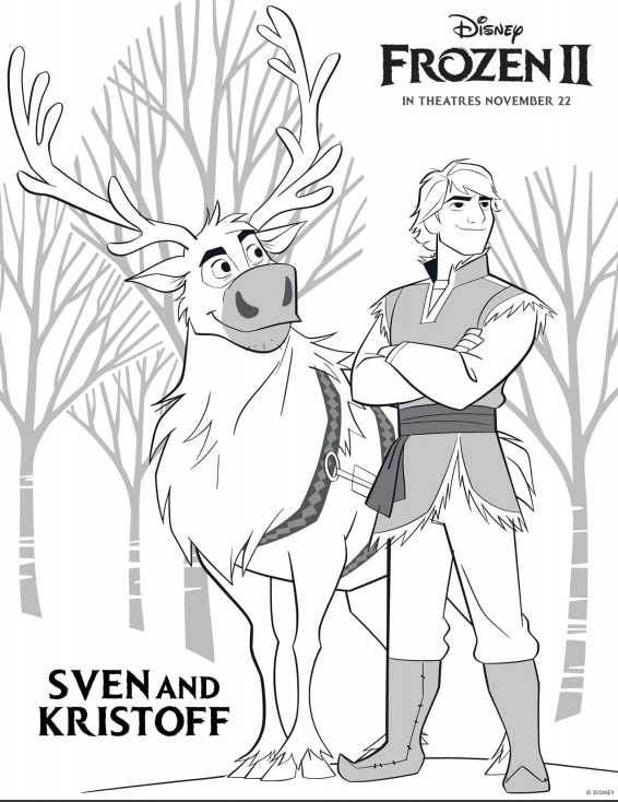 Disney's FROZEN 2 Coloring Pages - Sven and Kristoff