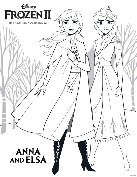 Disney's FROZEN 2 Coloring Pages - Anna and Elsa
