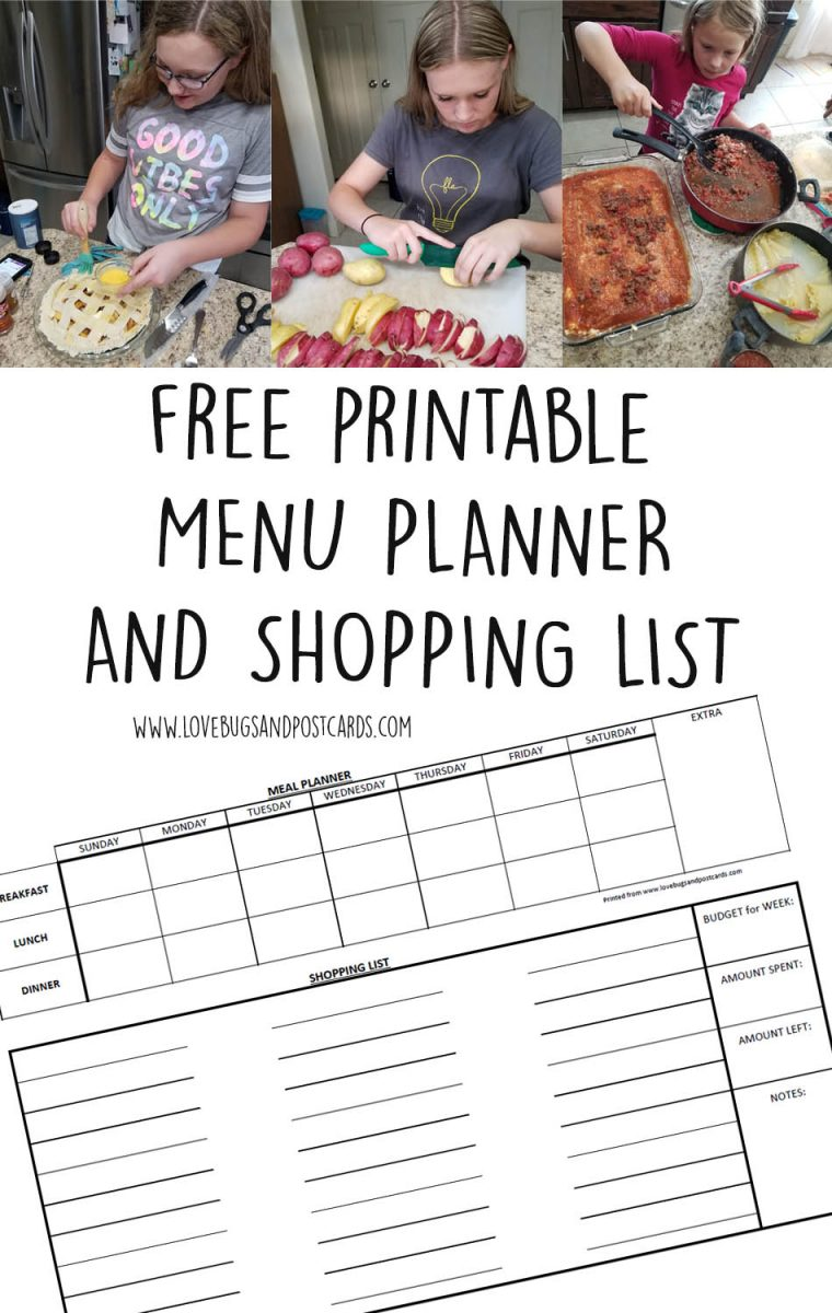 Free Printable Menu Planner and Shopping List Maker