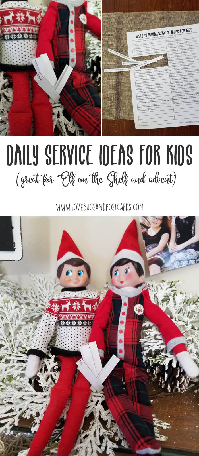 Daily Service Ideas for Kids (great for Elf on the Shelf and Advent Calendars)