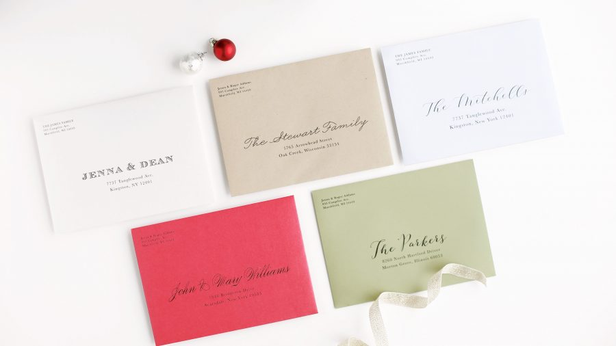 Customized addressing on your holiday cards