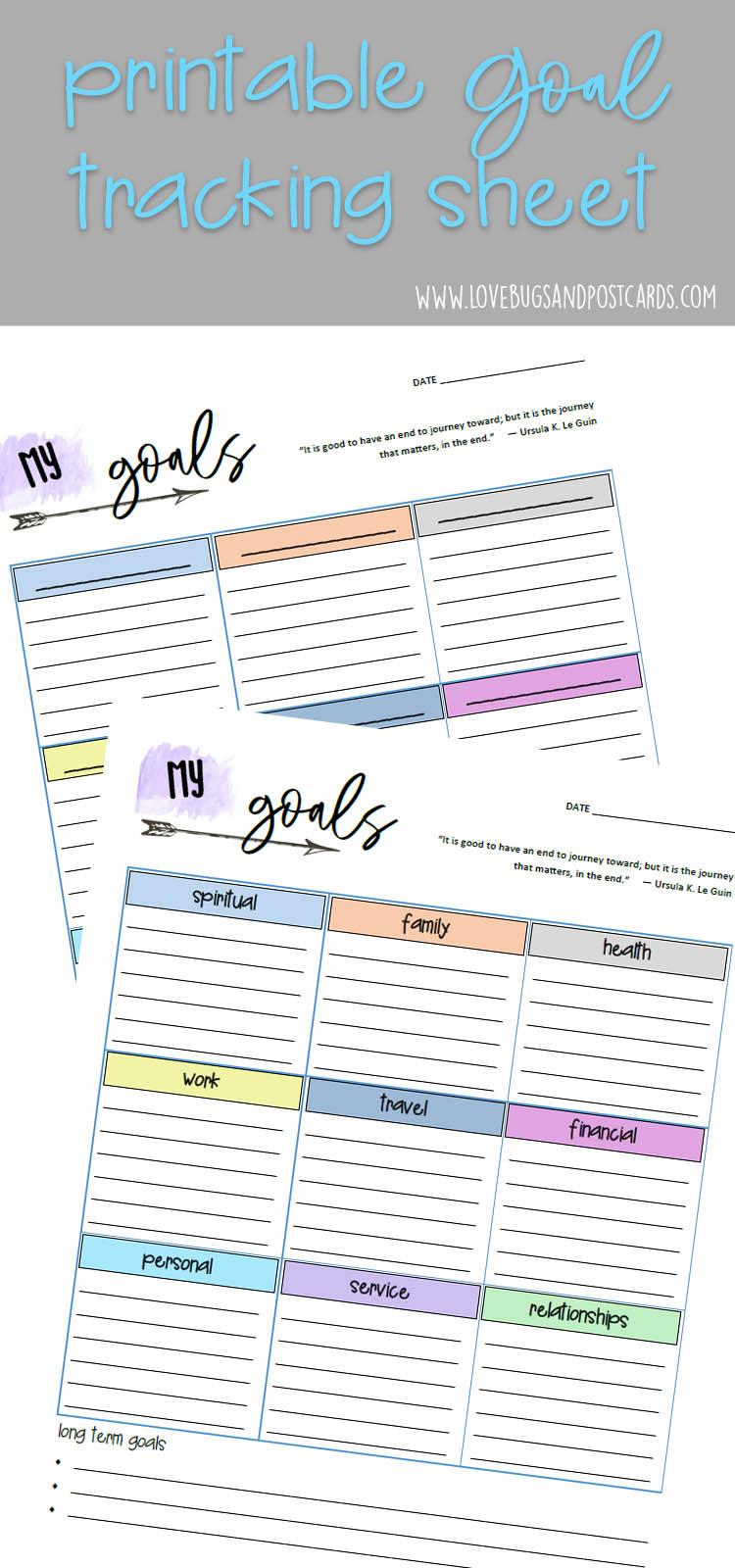 Printable Goal Tracking Sheet