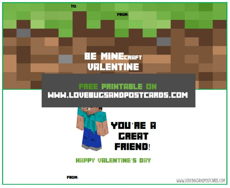 Minecraft Valentine Card Printables