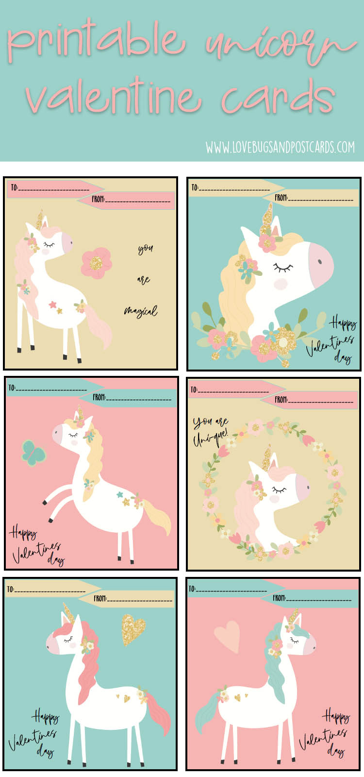 Unicorn Valentine Cards Printable {free}
