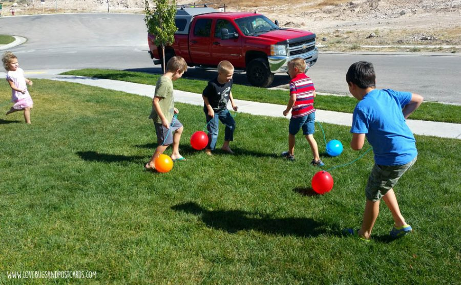 Dinosaur Birthday Party Ideas - Balloon Stomp (tag) game