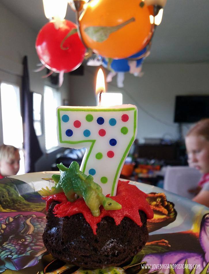 Dinosaur Birthday Party Ideas - Lava Cake and Dinosaur Balloons