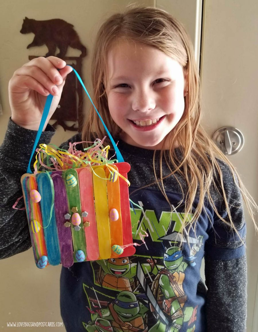 Easter Crafts and DIY Projects - Wood Stick Easter Basket Craft