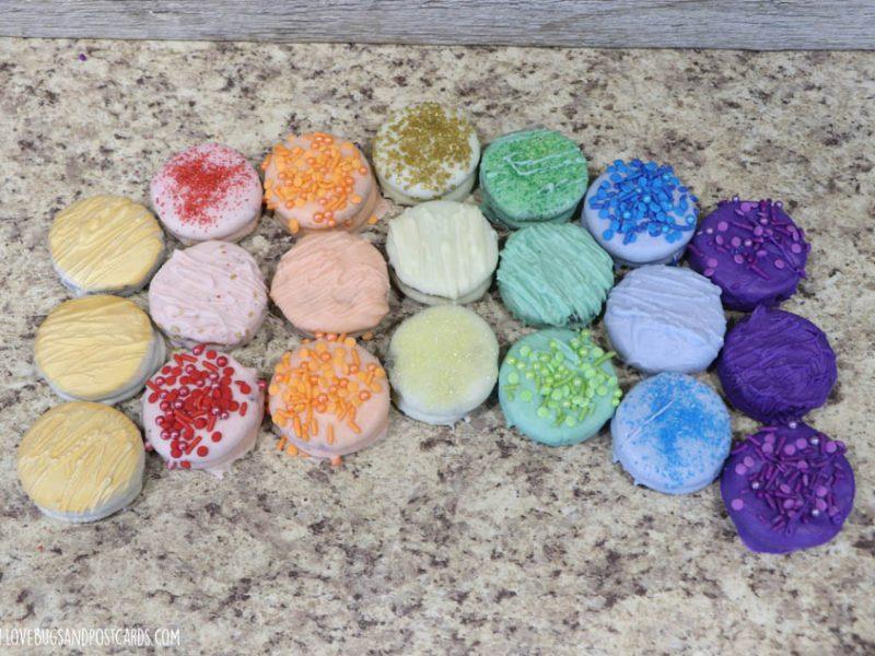 Rainbow Dipped Oreo Cookies