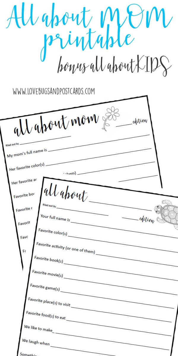 All about Mom printable (plus bonus All about kids)
