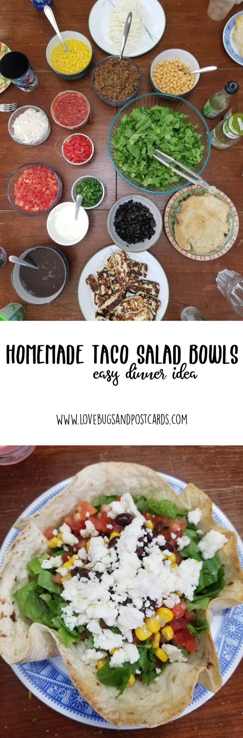 Taco Salad Recipe (with homemade tortilla bowls)