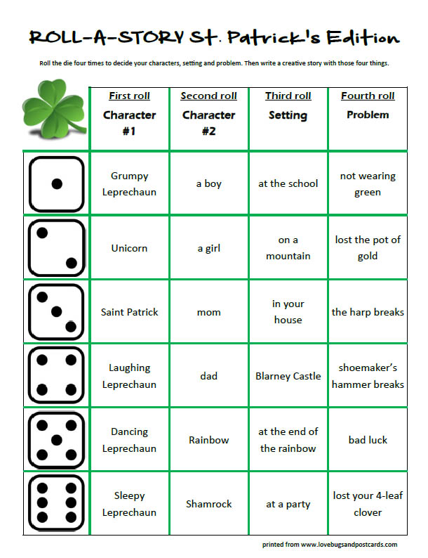 St. Patricks Roll-A-Story free printable